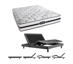 Simmons Beautyrest King Size Luxury Plush Comfort Mattress and Adjustable Bases N Plainfield King PL Mattress w Base N
