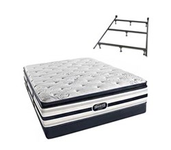 Simmons Beautyrest Full Size Luxury Plush Pillow Top Comfort Mattress and Box Spring Sets With Frame Ford Full PPT Low Pro Set with Frame
