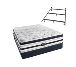 Simmons Beautyrest Queen Size Luxury Firm Pillow Top Comfort Mattress and Box Spring Sets With Frame Ford Queen LFPT Std Set with Frame