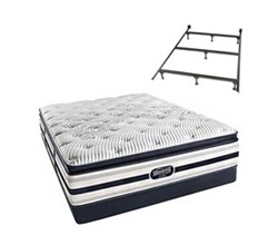 Simmons Beautyrest Queen Size Luxury Firm Pillow Top Comfort Mattress and Box Spring Sets With Frame Ford Queen LFPT Low Pro Set with Frame