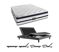 Simmons Beautyrest King Size Luxury Plush Pillow Top Comfort Mattress and Adjustable Bases Ford King PPT Mattress w Base
