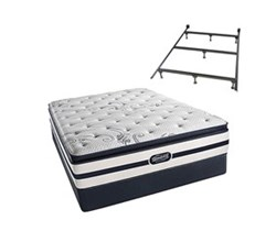 Simmons Beautyrest Queen Size Luxury Firm Pillow Top Comfort Mattress and Box Spring Sets With Frame N Hanover Queen LFPT Std Set Split With Frame N