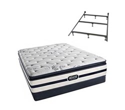 Simmons Beautyrest Queen Size Luxury Firm Pillow Top Comfort Mattress and Box Spring Sets With Frame N Hanover Queen LFPT Low Pro Set Split With Frame N