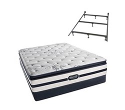 Simmons Beautyrest Queen Size Luxury Plush Pillow Top Comfort Mattress and Box Spring Sets With Frame N Hanover Queen PPT Low Pro Set Split With Frame N