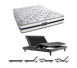 Simmons Beautyrest King Size Luxury Plush Comfort Mattress and Adjustable Bases N Hanover King PL Mattress w Base N