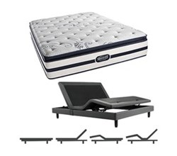 Simmons Beautyrest King Size Luxury Plush Pillow Top Comfort Mattress and Adjustable Bases N Hanover King PPT Mattress w Base N