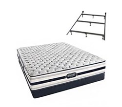 Simmons Beautyrest Queen Size Luxury Extra Firm Comfort Mattress and Box Spring Sets With Frame simmons fair lawn queen xf low pro set with frame