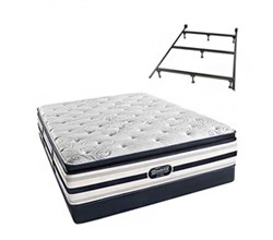 Simmons Beautyrest Queen Size Luxury Plush Pillow Top Comfort Mattress and Box Spring Sets With Frame simmons fair lawn queen ppt low pro set with frame