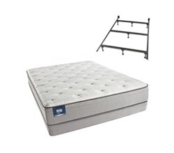 Simmons Beautyrest Queen Size Luxury Plush Pillow Top Comfort Mattress and Box Spring Sets With Frame Cadosia Queen PET Low Pro Set Split With Frame N
