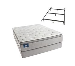 Simmons Beautyrest Queen Size Luxury Plush Pillow Top Comfort Mattress and Box Spring Sets With Frame simmons chickering queen ppt std set with frame