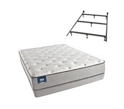 Simmons Beautyrest Queen Size Luxury Firm Comfort Mattress and Box Spring Sets With Frame simmons chickering queen lf low pro set with frame