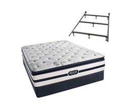 Simmons Beautyrest Queen Size Luxury Plush Pillow Top Comfort Mattress and Box Spring Sets With Frame N Hanover Queen PPT Std Set Split With Frame N