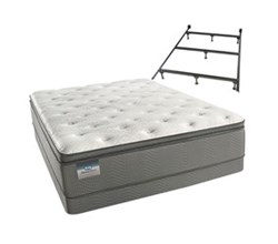 Simmons Beautyrest Queen Size Luxury Plush Pillow Top Comfort Mattress and Box Spring Sets With Frame beautysleep 450 plush pillow top queen size mattress and low profile split box spring set with bed frame
