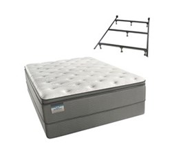 Simmons Beautyrest Queen Size Luxury Plush Pillow Top Comfort Mattress and Box Spring Sets With Frame beautysleep 450 plush pillow top queen size mattress and standard split box spring set with bed frame