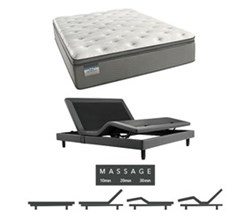 Simmons Beautyrest Queen Size Luxury Plush Pillow Top Comfort Mattress and Adjustable Bases beautysleep 450 plush pillow top queen size mattress and adjustable base with massage feature