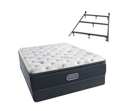 Simmons Beautyrest Queen Size Luxury Plush Pillow Top Comfort Mattress and Box Spring Sets With Frame simmons beautyrest silver 700 ppt