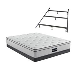 Simmons Beautyrest Cal King Size Luxury Plush Mattress and Boxspring Sets With Bed Frame beautyrest br800 plush euro top cal king size mattress and low profile box spring set with bed frame
