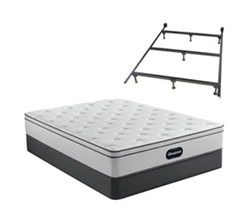 Simmons Beautyrest Cal King Size Luxury Plush Mattress and Boxspring Sets With Bed Frame beautyrest br800 plush euro top cal king size mattress and standard box spring set with bed frame