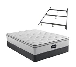 Simmons Beautyrest Twin XL Size Luxury Plush Pillow Top Mattress and Boxspring Sets With Bed Frame beautyrest br800 plush pillow top twinxl size mattress standard box spring set with bed frame