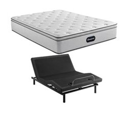 Simmons Beautyrest Twin XL Size Luxury Plush Pillow Top Mattress and Adjustable Base Bundles beautyrest br800 plush pillow top twinxl size mattress and motion essentials adjustable base