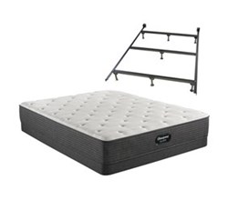 Simmons Beautyrest Cal King Size Luxury Plush Mattress and Boxspring Sets With Bed Frame beautyrest silver brs900 pl